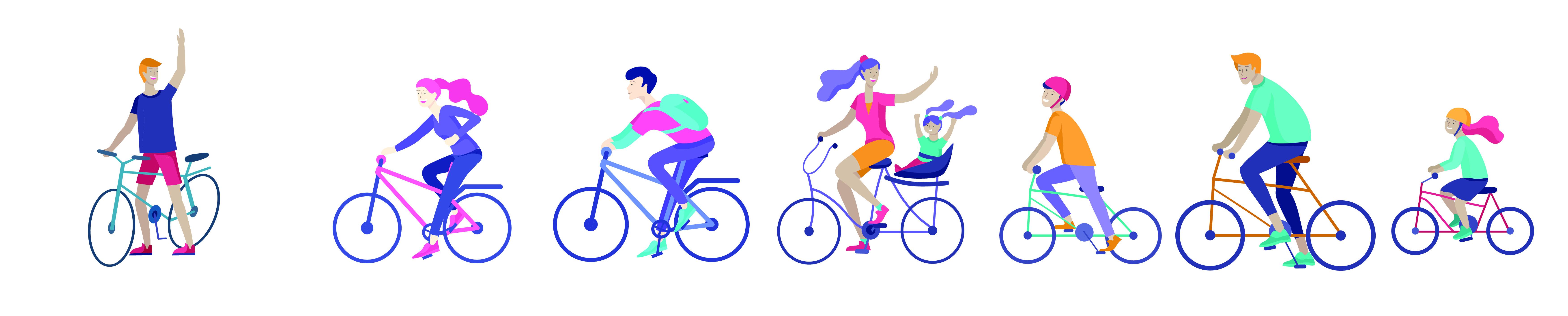 Dessins naifs de cyclistes jeunes et plus agés très content de rouler